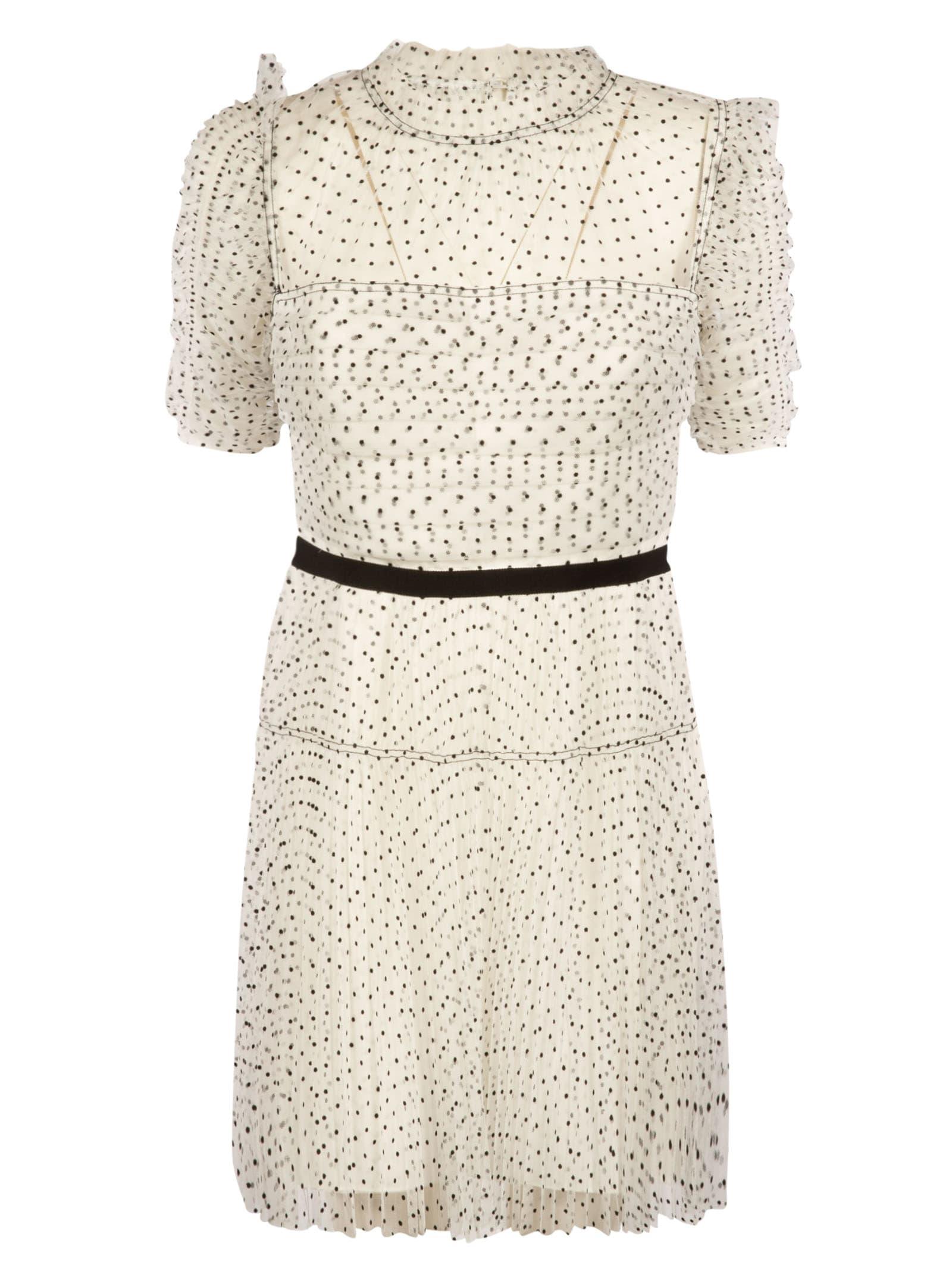 Buy self-portrait Dot Mesh Pleated Skirt Mini Dress online, shop self-portrait with free shipping