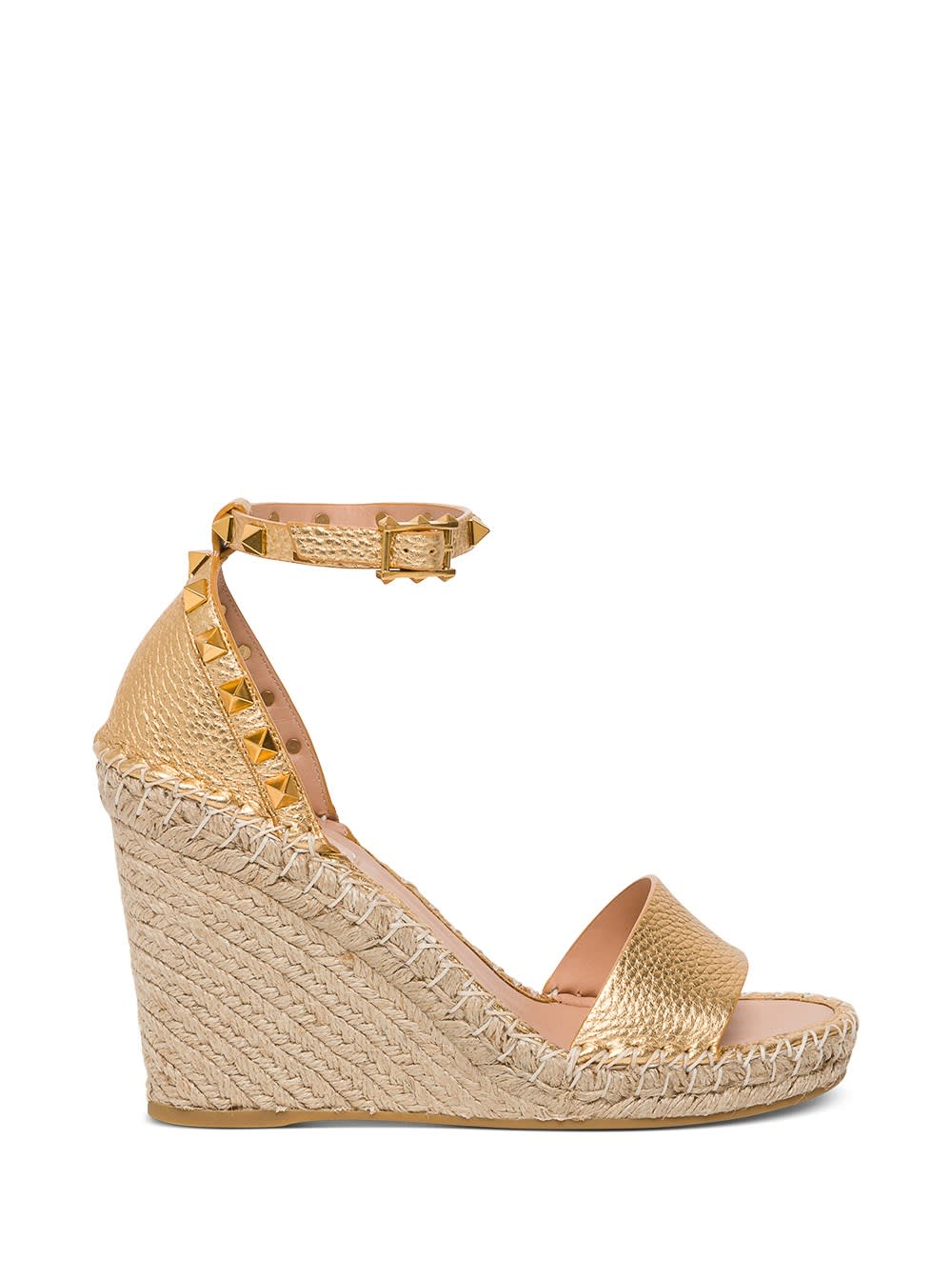 Valentino ROCKSTUD DOUBLE WEDGE SANDAL IN LAMINATED LEATHER