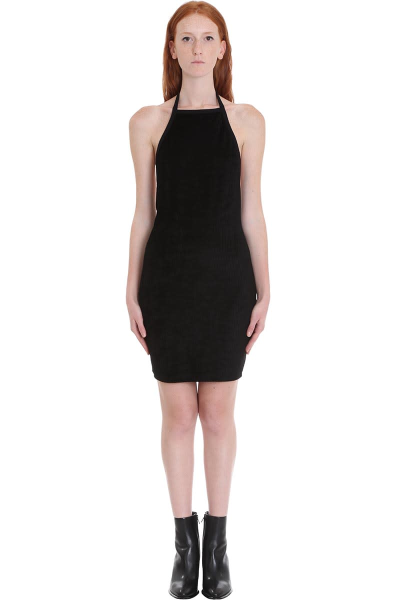 Alexander Wang Velour Halter Dress In Black Tech & synthetic