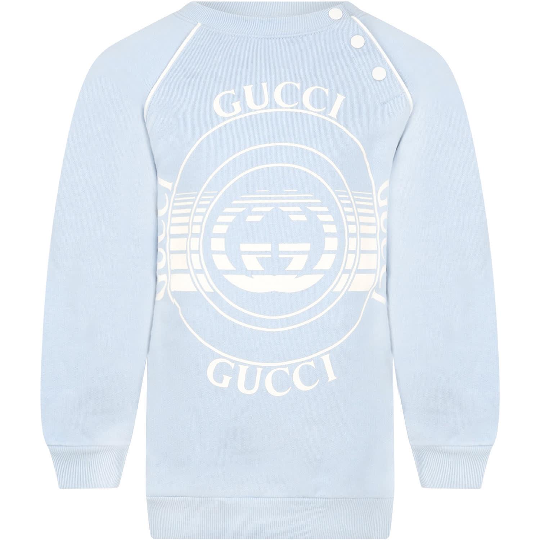Gucci Knits LIGHT BLUE SWEATSHIRT FOR BABYKIDS WITH LOGOS