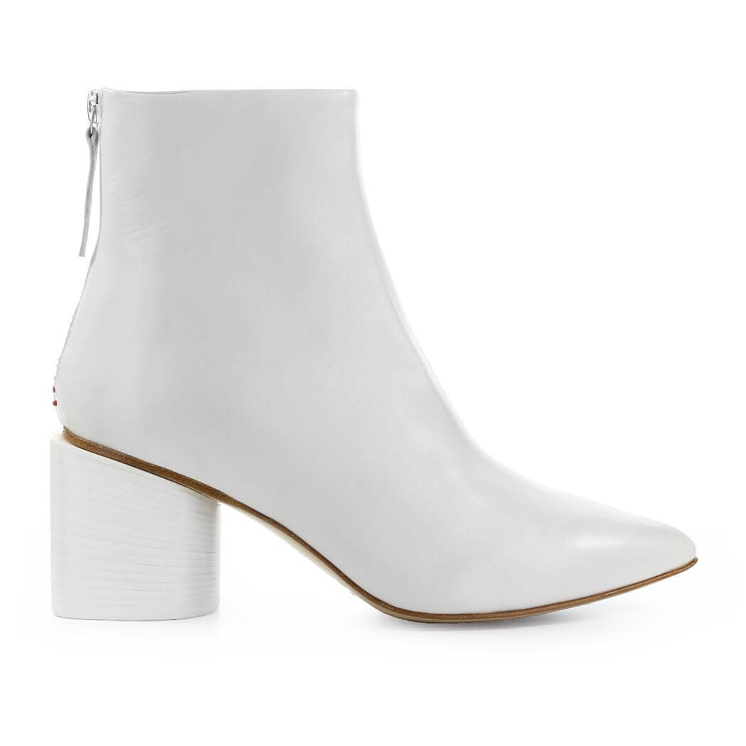 White Nappa Leather Ankle Boot