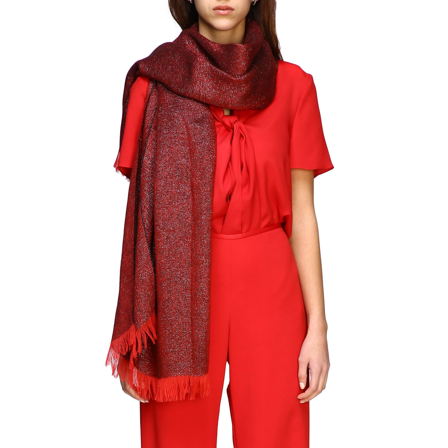 Emporio Armani Scarf With Logo In Red