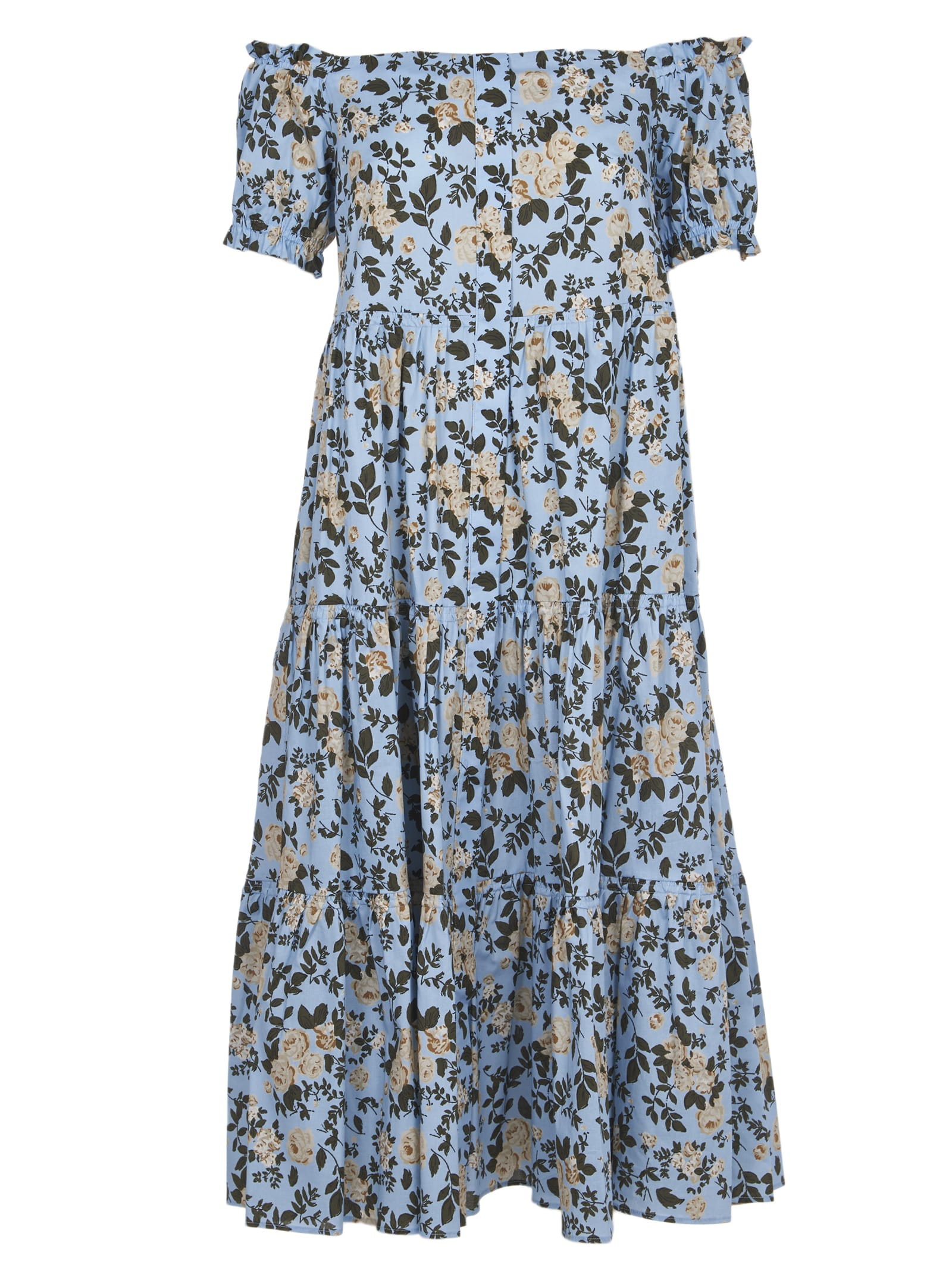Semicouture Cottons LOGN BLUE FLORAL DRESS