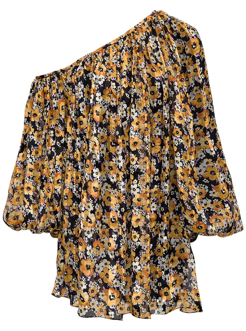 Buy Saint Laurent Floral Silk Asymmetrical Dress online, shop Saint Laurent with free shipping