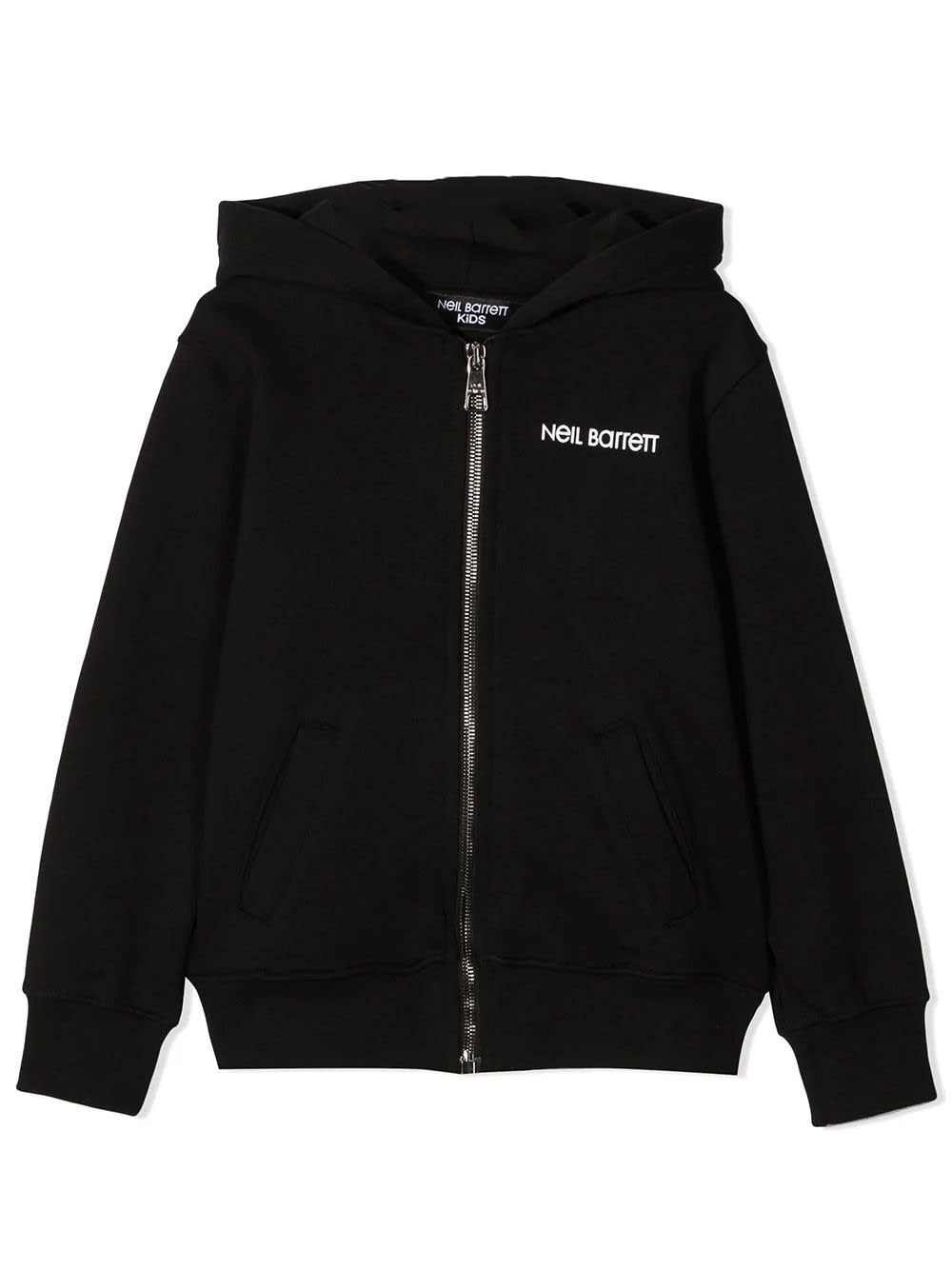 Neil Barrett Kids' Zipped Hoodie In Black