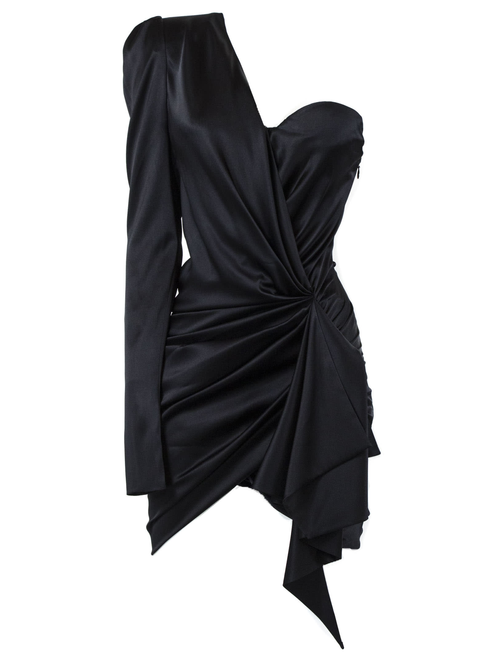Alexandre Vauthier Black Silk Asymmetric Mini Dress