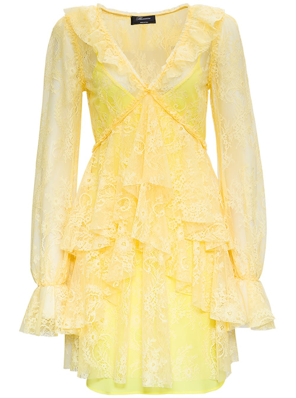 Blumarine Dresses YELLOW LACE DRESS WITH RUFFLES DETAIL