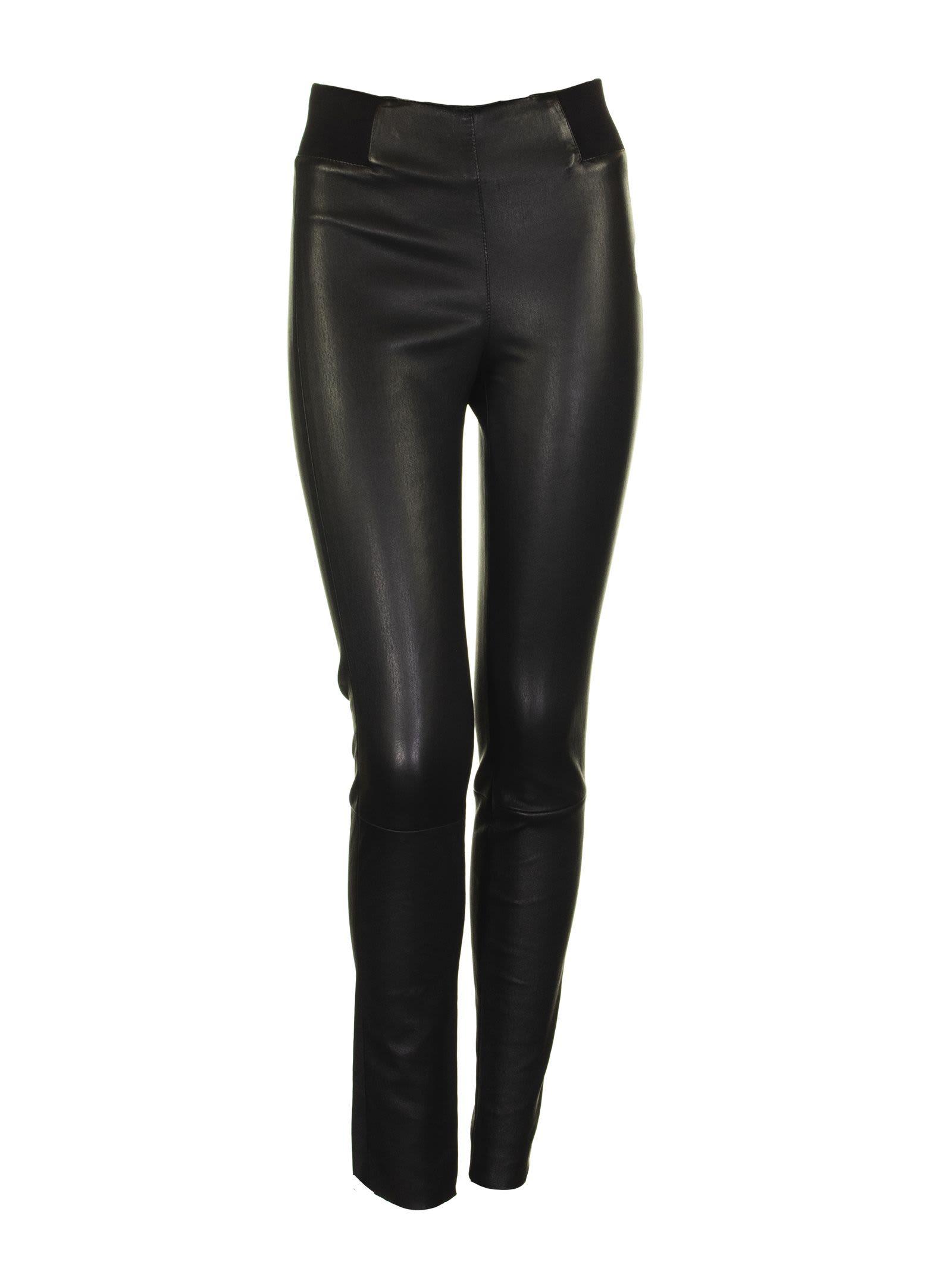 Brunello Cucinelli Leather Trousers Black