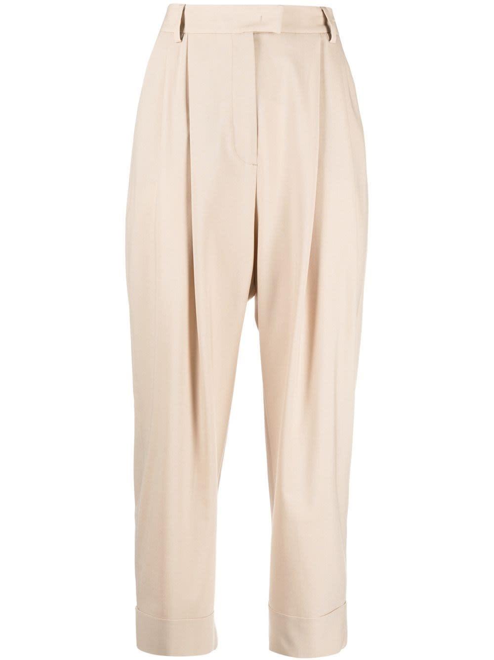 Pt01 Straight pants BEIGE WOOL BLEND TROUSERS