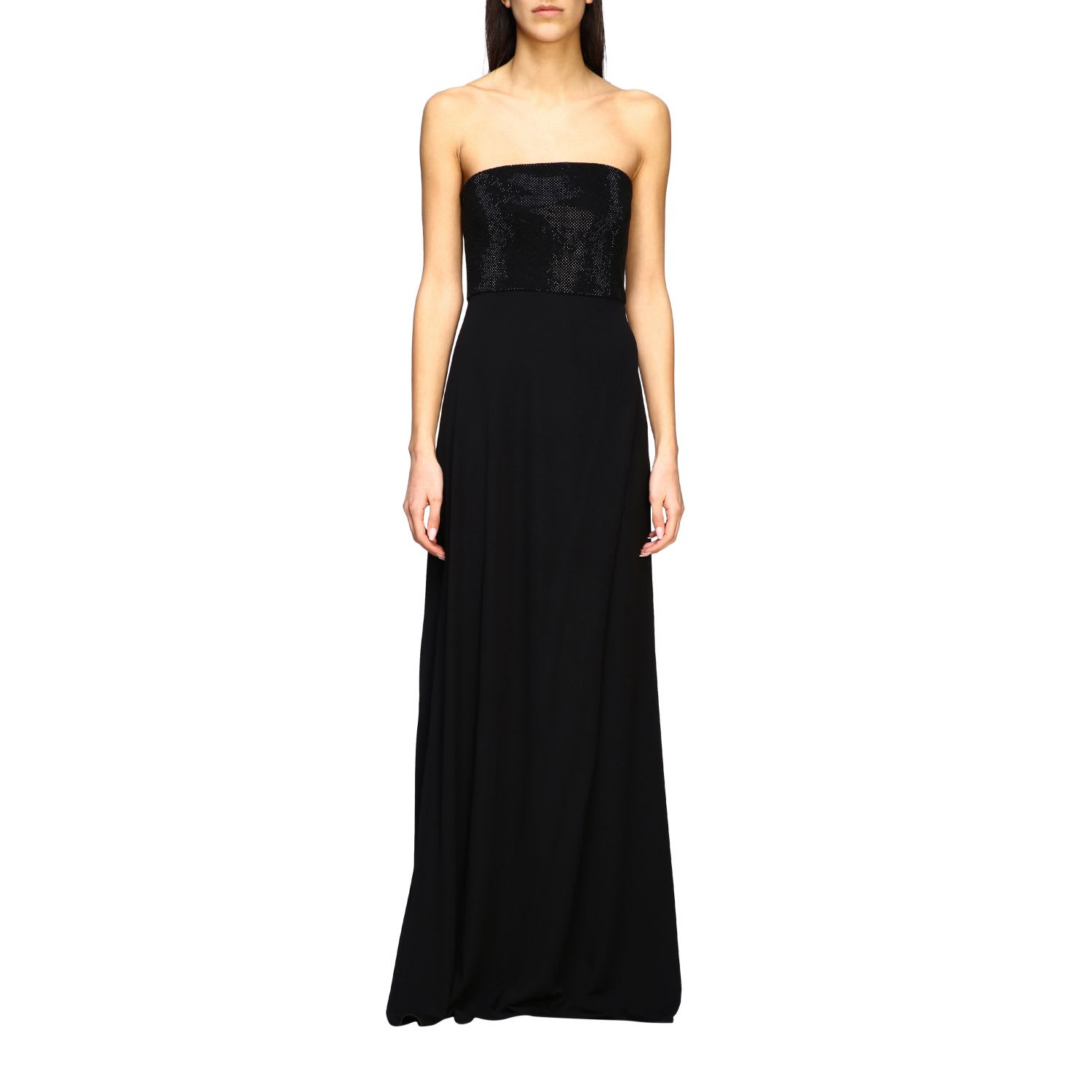 Buy Emporio Armani Dress Long Emporio Armani Dress With Rhinestone Bodice online, shop Emporio Armani with free shipping