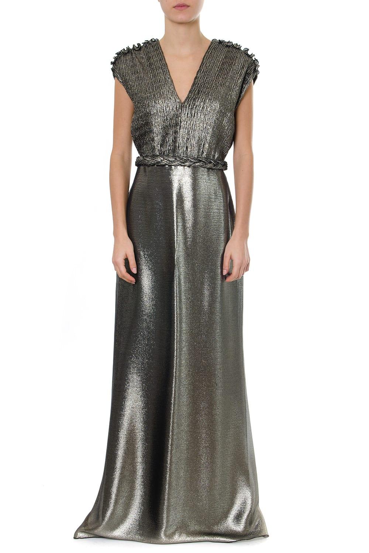 Max Mara Lead Silk Long Pleated Dress