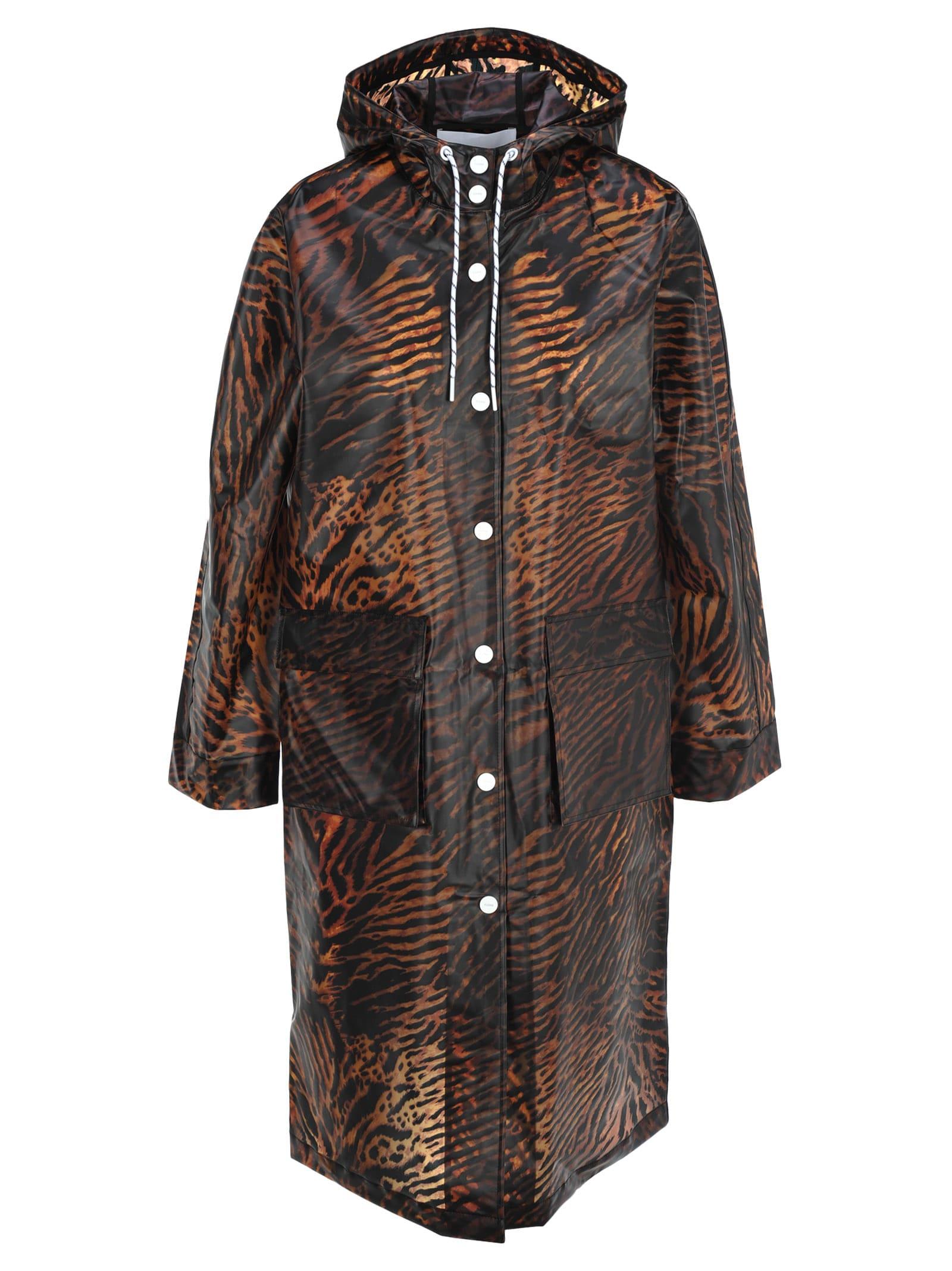 Ganni Tiger Print Raincoat