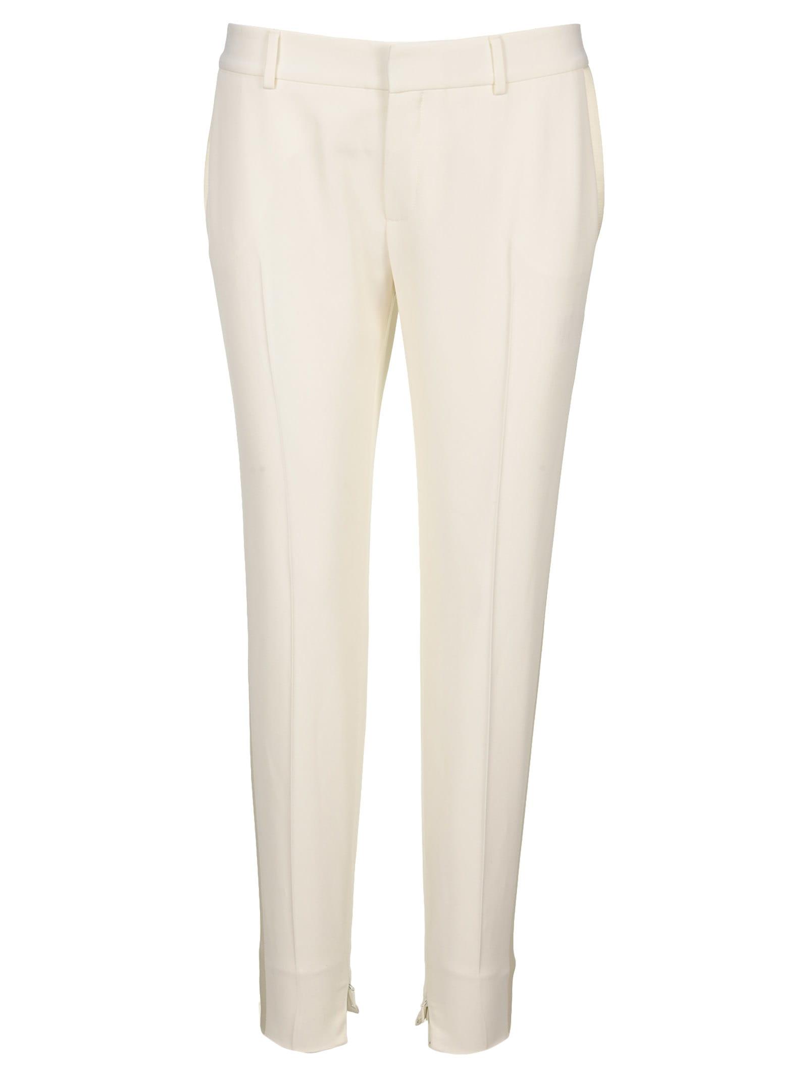 Saint Laurent Tuxedo Pants In White