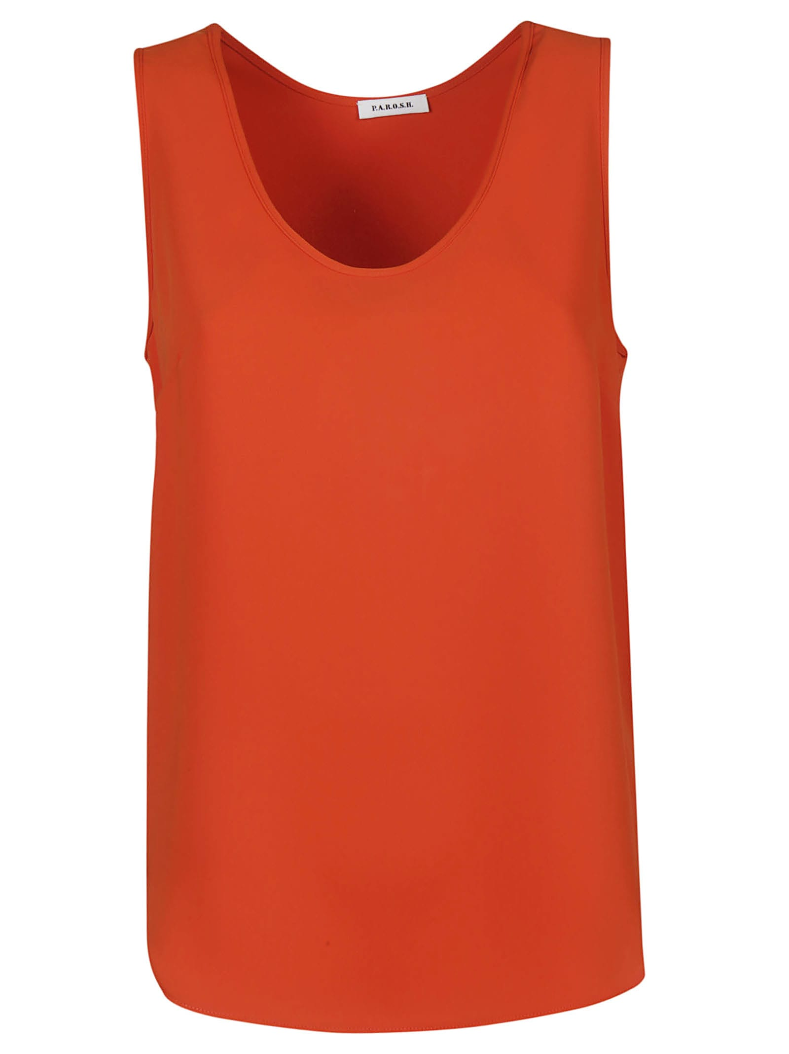 Panterya Tank Top from Parosh: Orange Panterya Tank Top with sleeveless design, deep neck and straight hem.