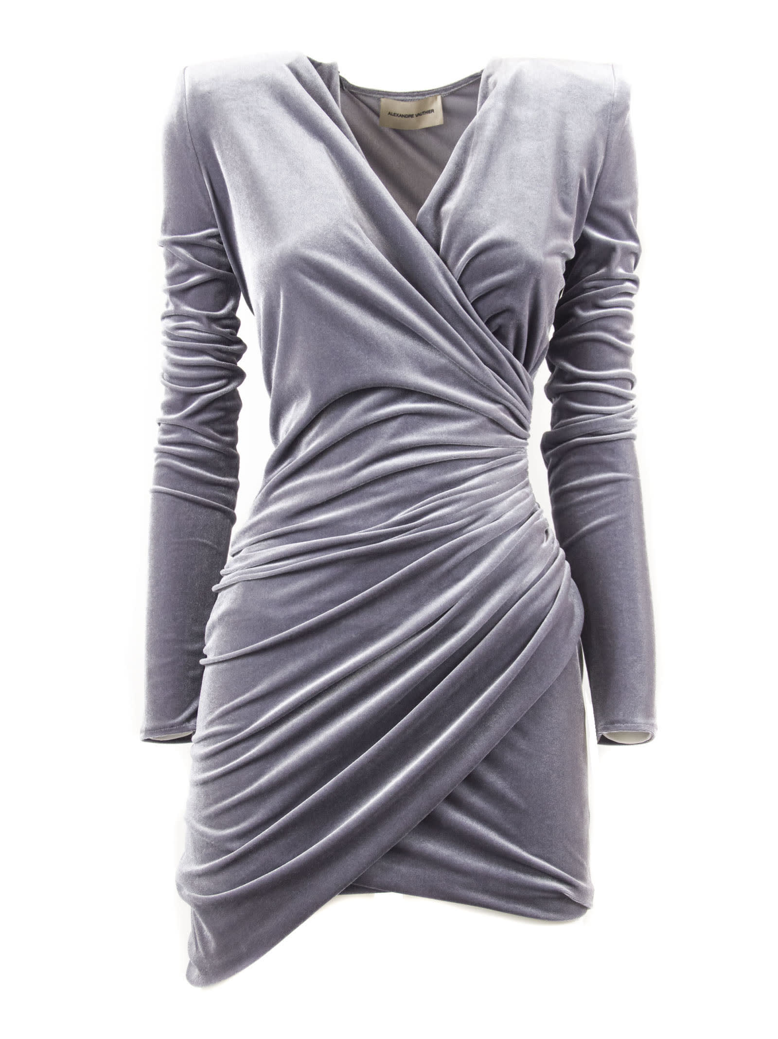 Photo of  Alexandre Vauthier Steel Grey Draped Mini Dress- shop Alexandre Vauthier  online sales