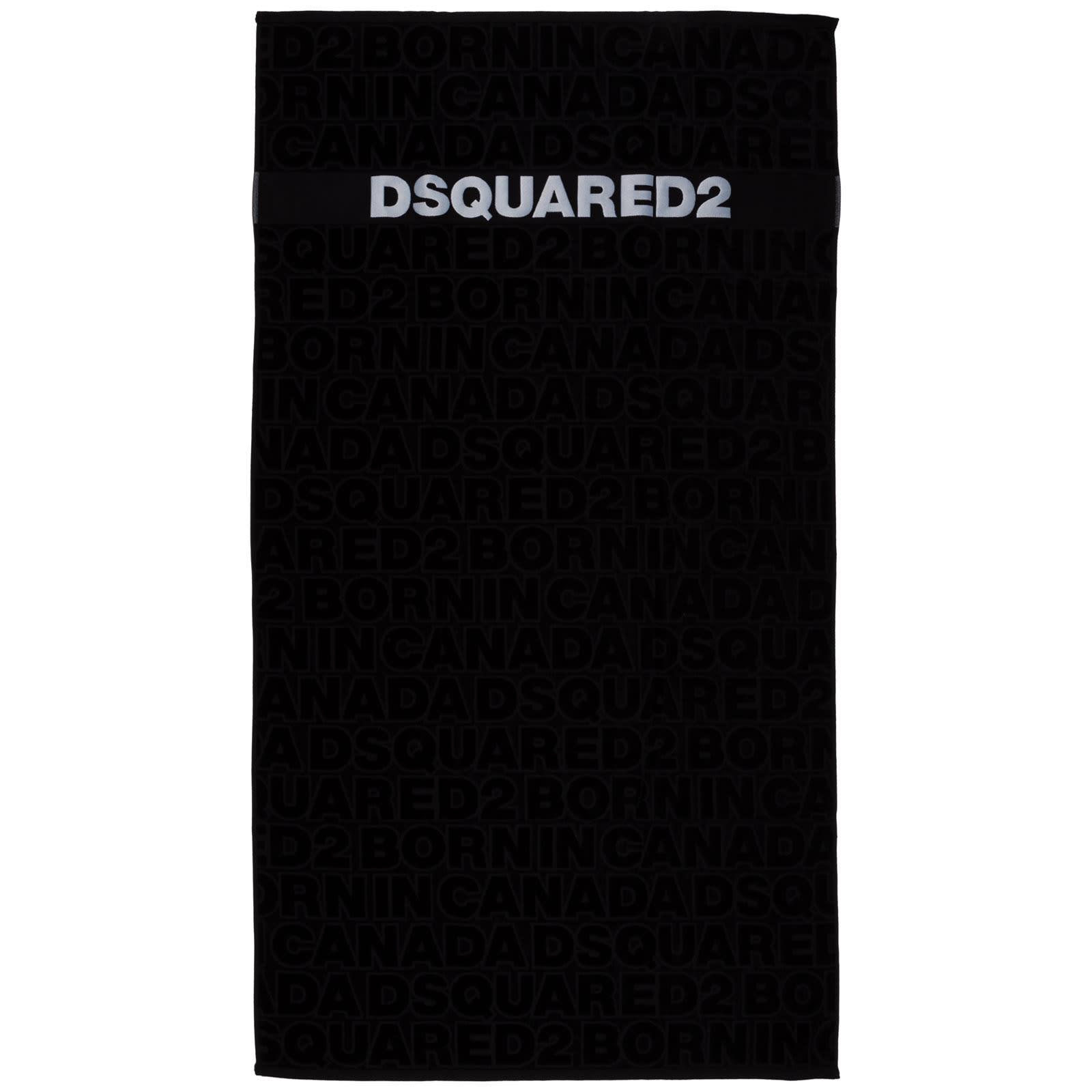 Dsquared2 Cross Beach Towels In Nero