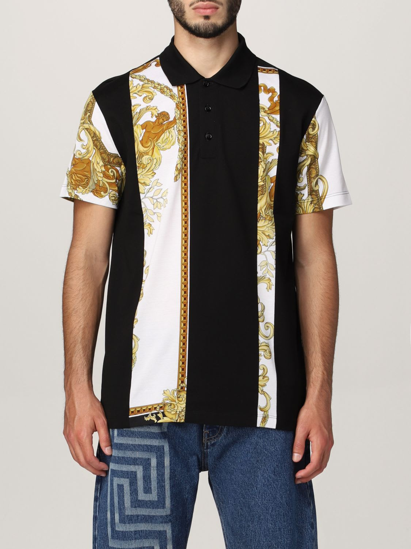 Versace Polo Shirt Versace Cotton Polo Shirt With Baroque Panels