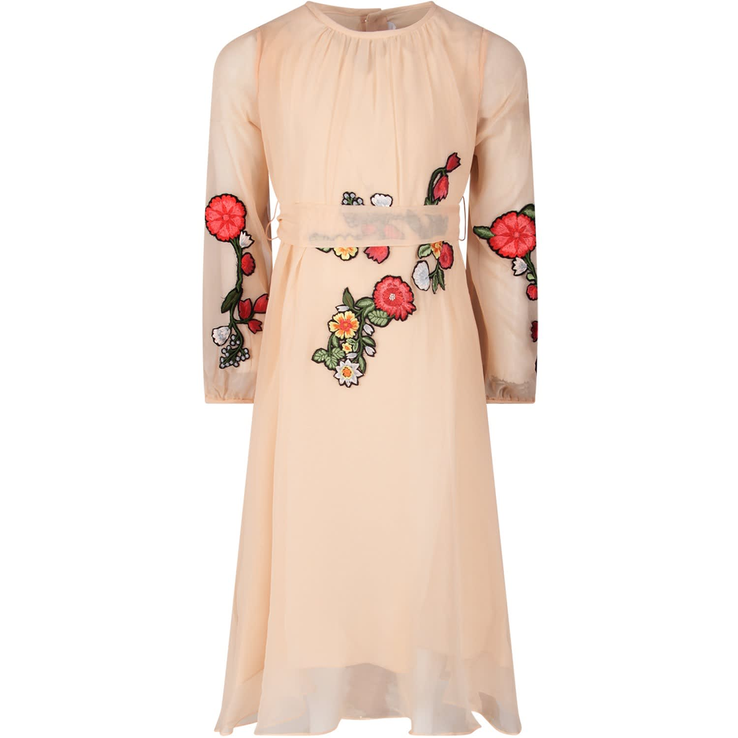 Oscar de la Renta Pink Girl Dress With Colorful Patch