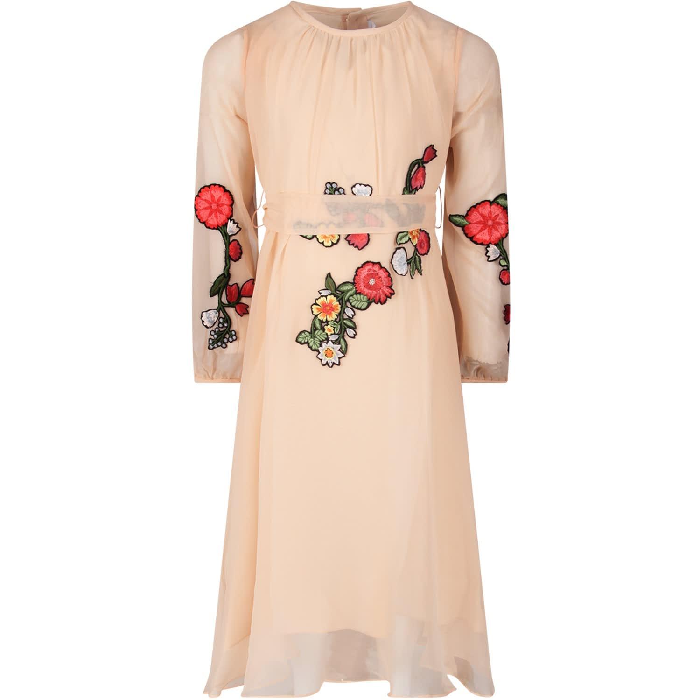 Buy Oscar de la Renta Pink Girl Dress With Colorful Patch online, shop Oscar de la Renta with free shipping