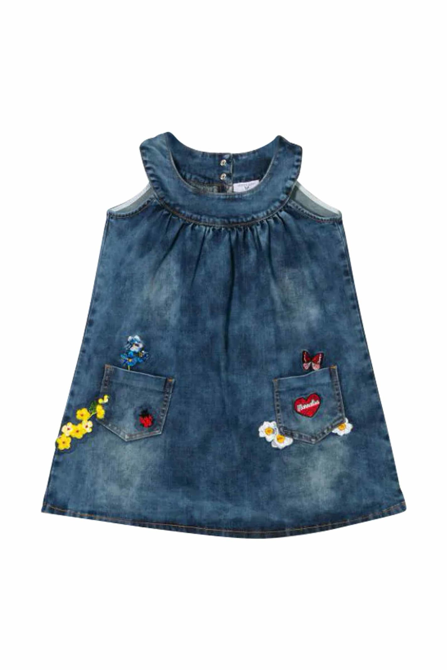 Buy Monnalisa Denim Dress With Embroidery online, shop Monnalisa with free shipping