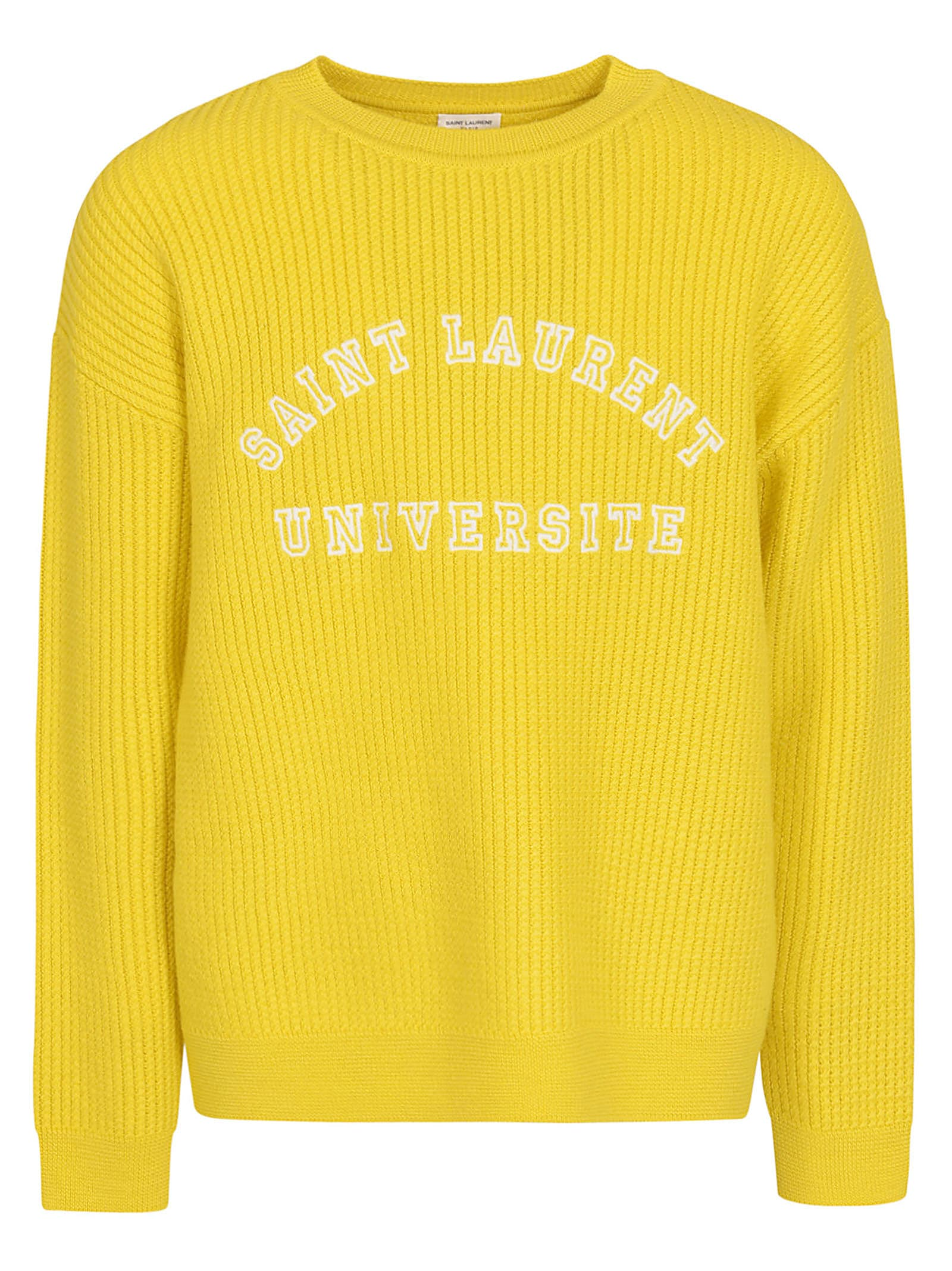 Saint Laurent Ribbed Knit Sweater In Yellow