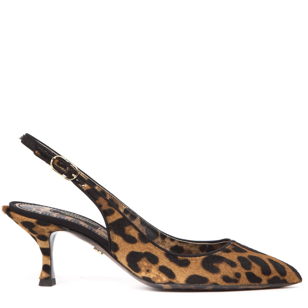 Buy Dolce & Gabbana Leopard-print Pony Hair Slingbacks online, shop Dolce & Gabbana shoes with free shipping