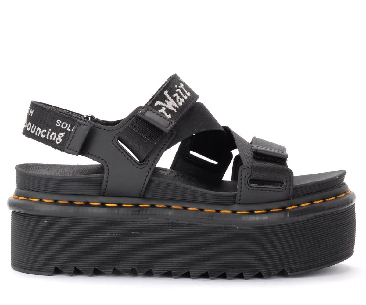 Dr. Martens Kimber Sandals In Black Leather With Maxi Platform