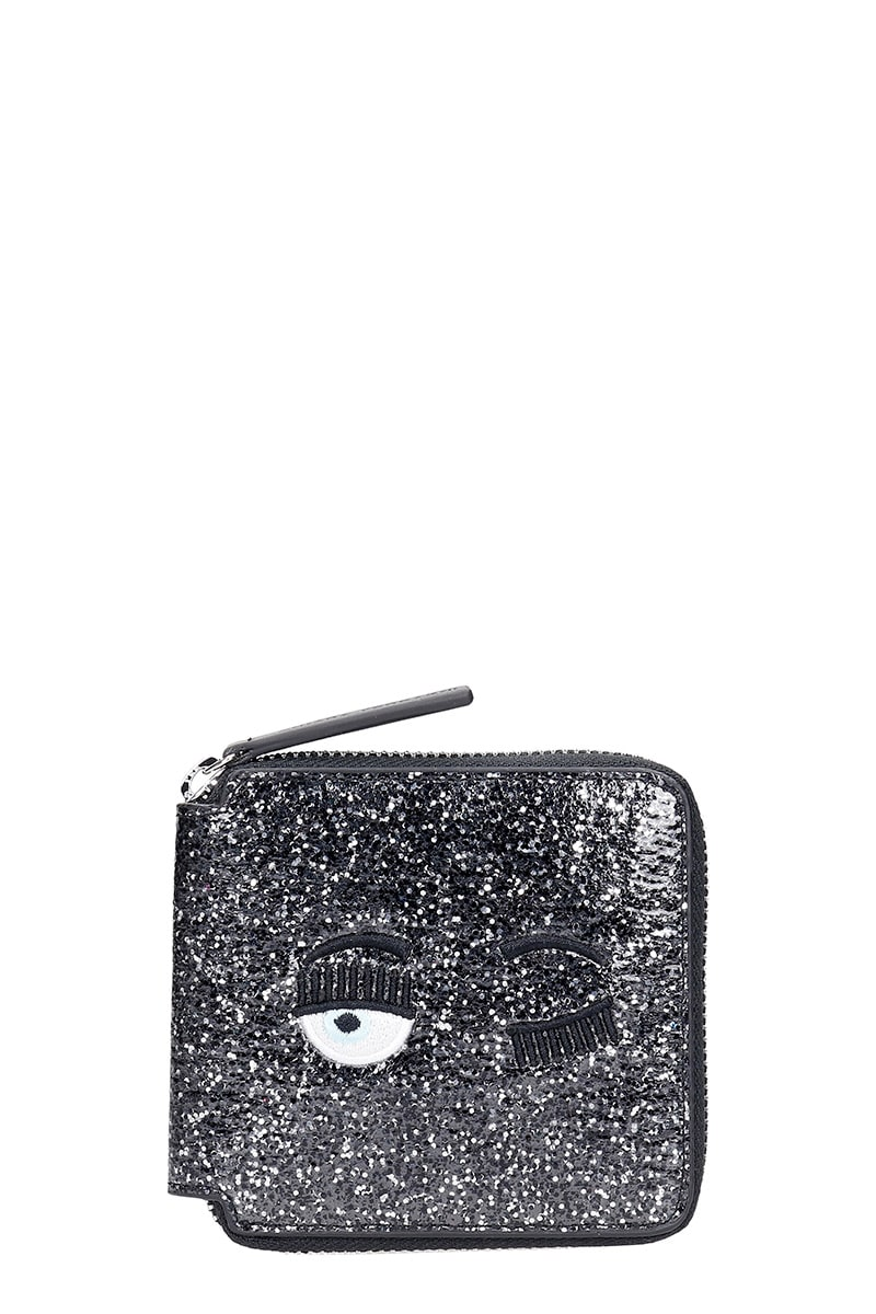 Chiara Ferragni WALLET IN BLACK LEATHER