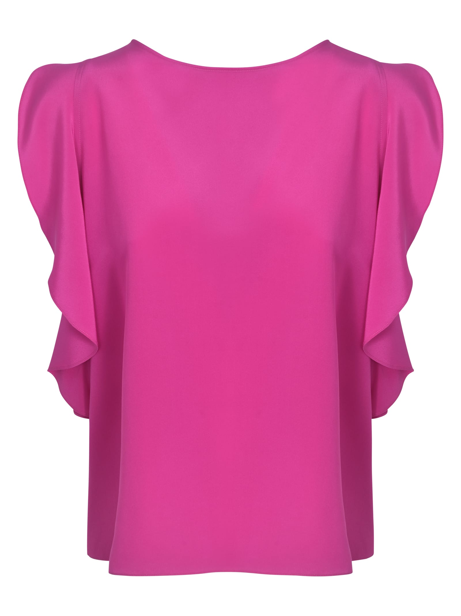 ASPESI Silks SIDE RUFFLED PLAIN TOP