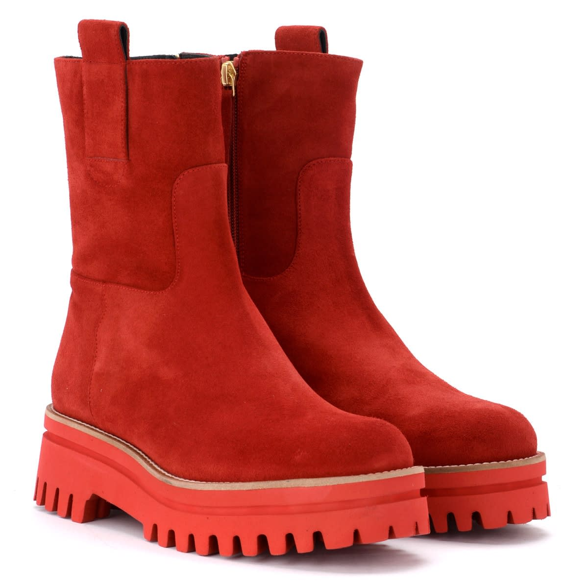 buy popular 4704c 6d44e Paloma Barcelò Ankle Boot In Red Suede With An Ultra-light Bottom