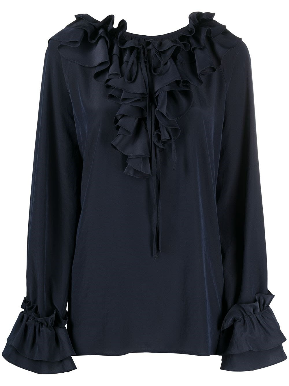 P.a.r.o.s.h. BLUE BLOUSE WITH RUFFLES DETAIL