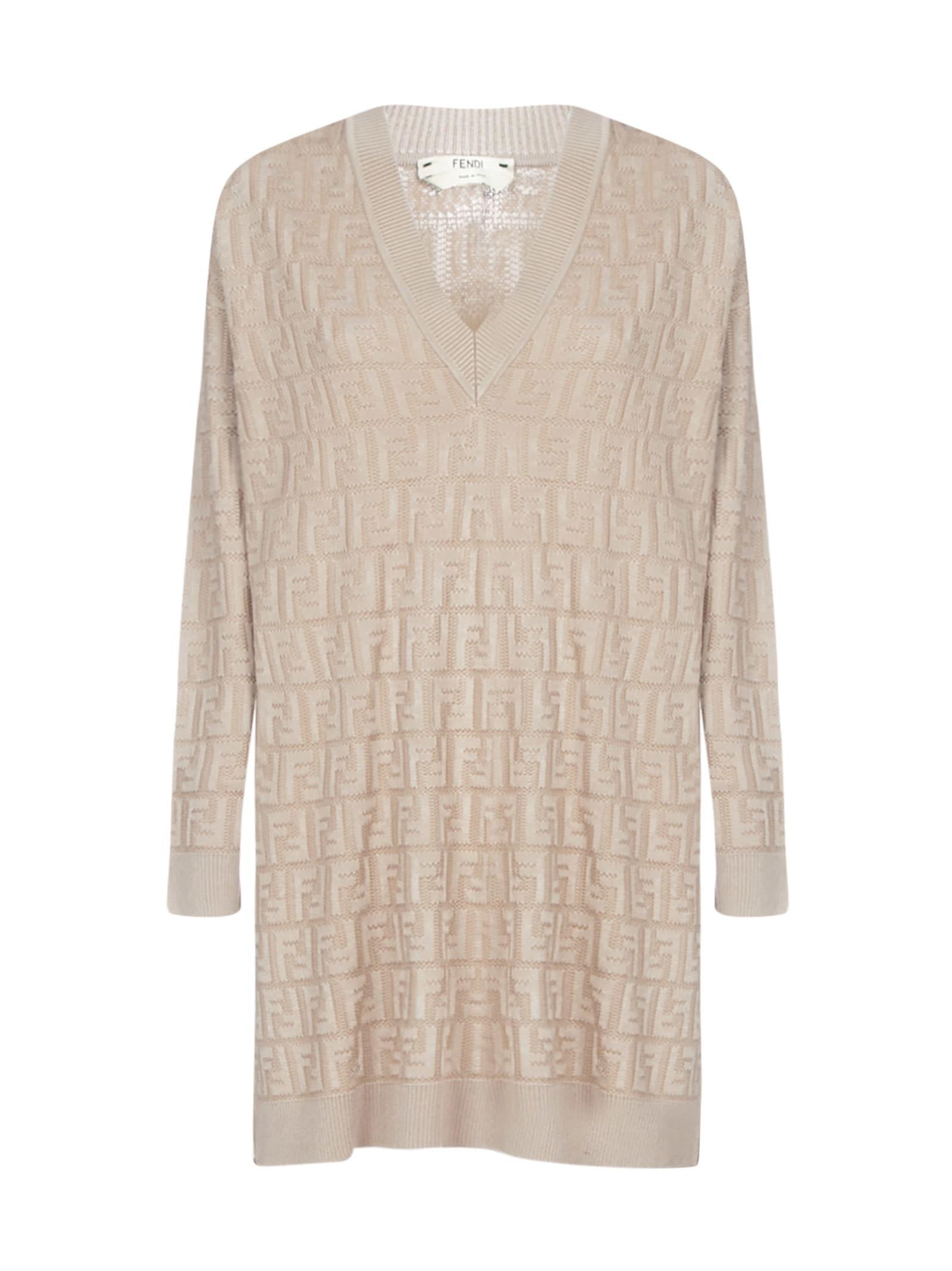Buy Fendi V Neck Long Sleeves Ff Dress online, shop Fendi with free shipping