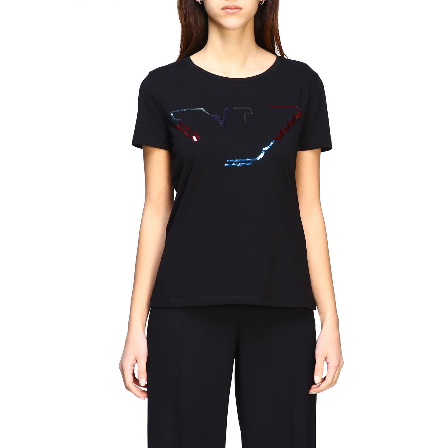 Emporio Armani Short-sleeved T-shirt With Sequin Logo In Black