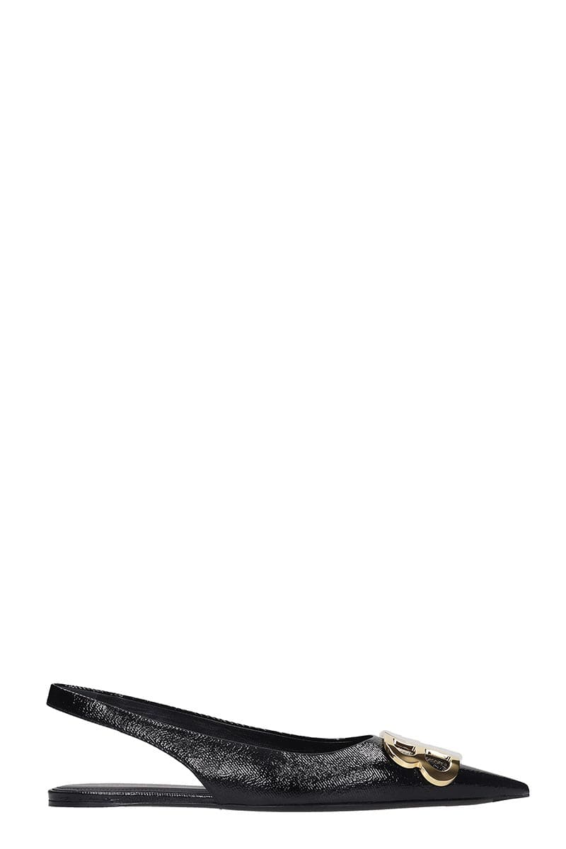 Balenciaga Bb Sling Back Ballet Flats In Black Leather
