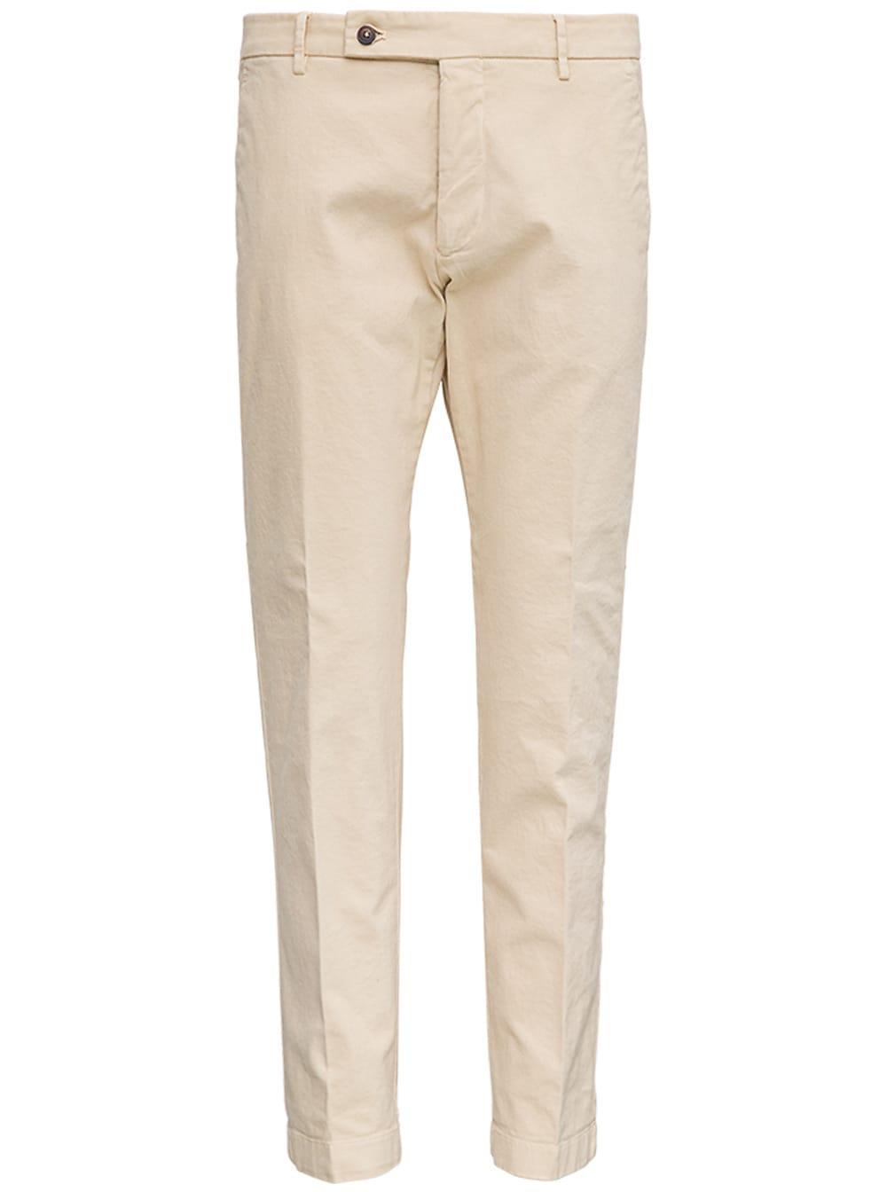 Beige Cotton Tailored Pants