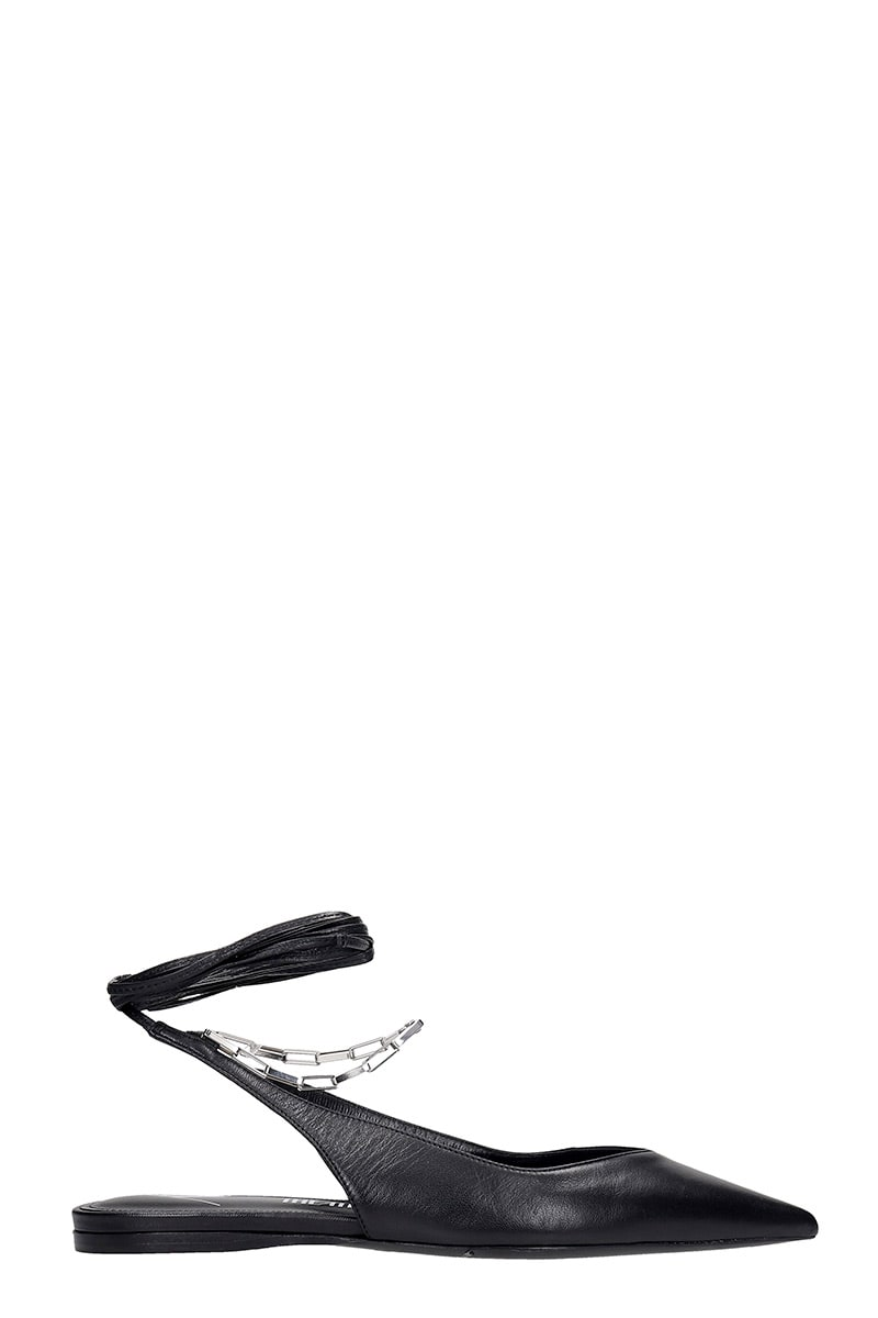 Attico SLINGBACK FLATS IN BLACK LEATHER