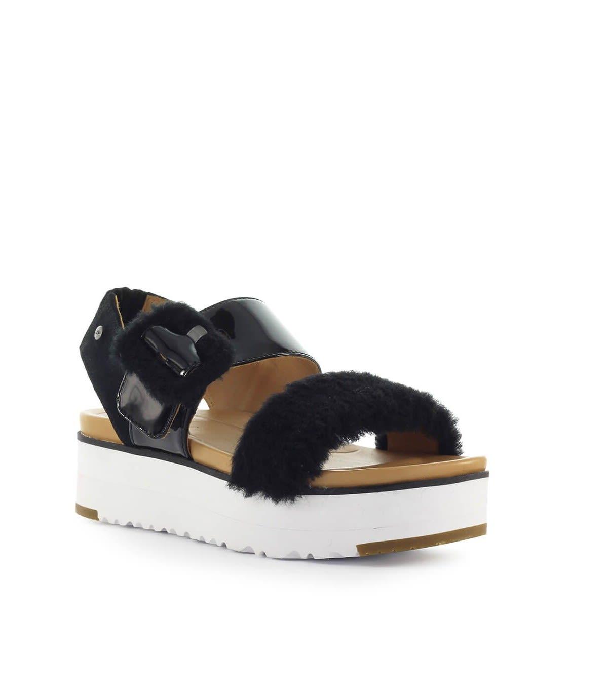 UGG Women's Fluff Chella Flatform Sandals Black