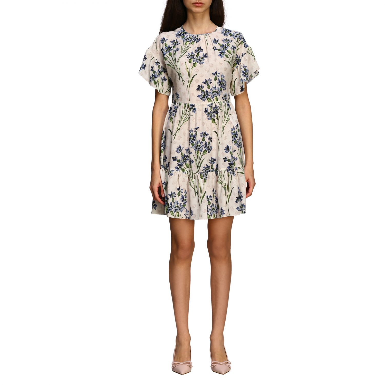 Buy Red Valentino Dress Red Valentino Silk Dress With Cornflower Print online, shop RED Valentino with free shipping