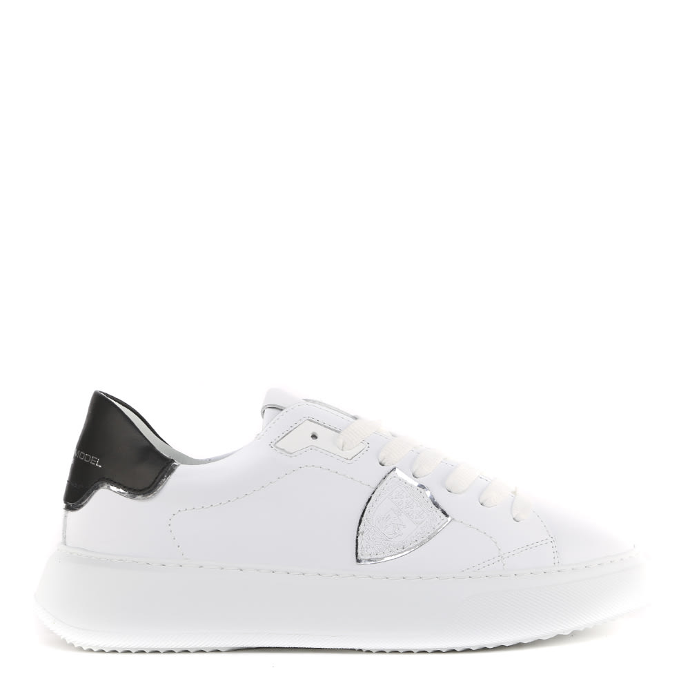 Philippe Model WHITE AND BLACK LEATHER TEMPLE VEAU SNEAKERS