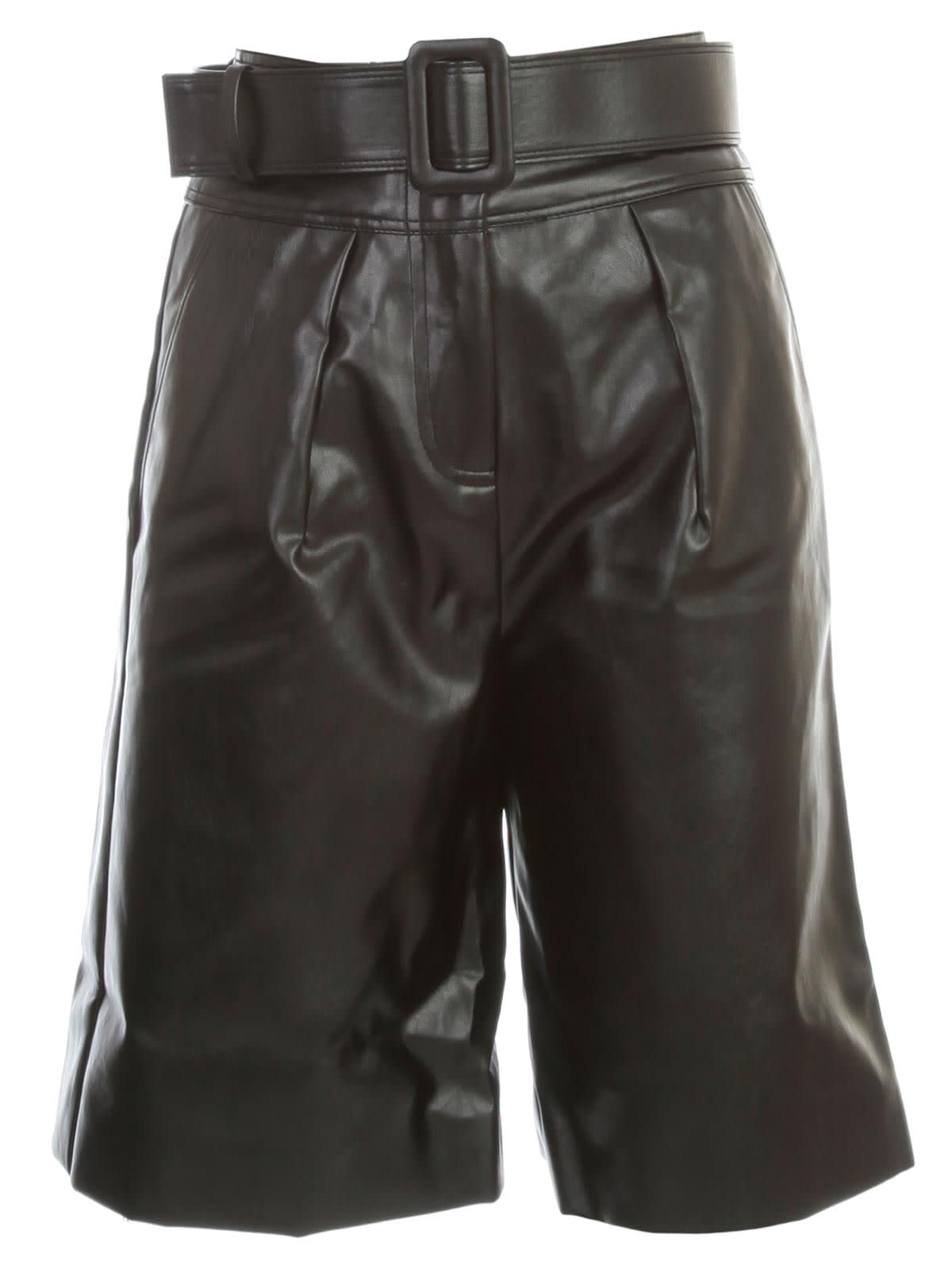 self-portrait Shorts Faux Leather W/belt