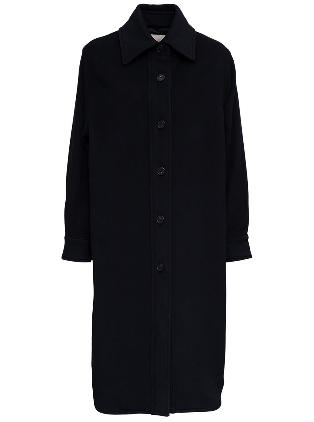 Ssingle-breasted Long Coat In Black Wool Blend