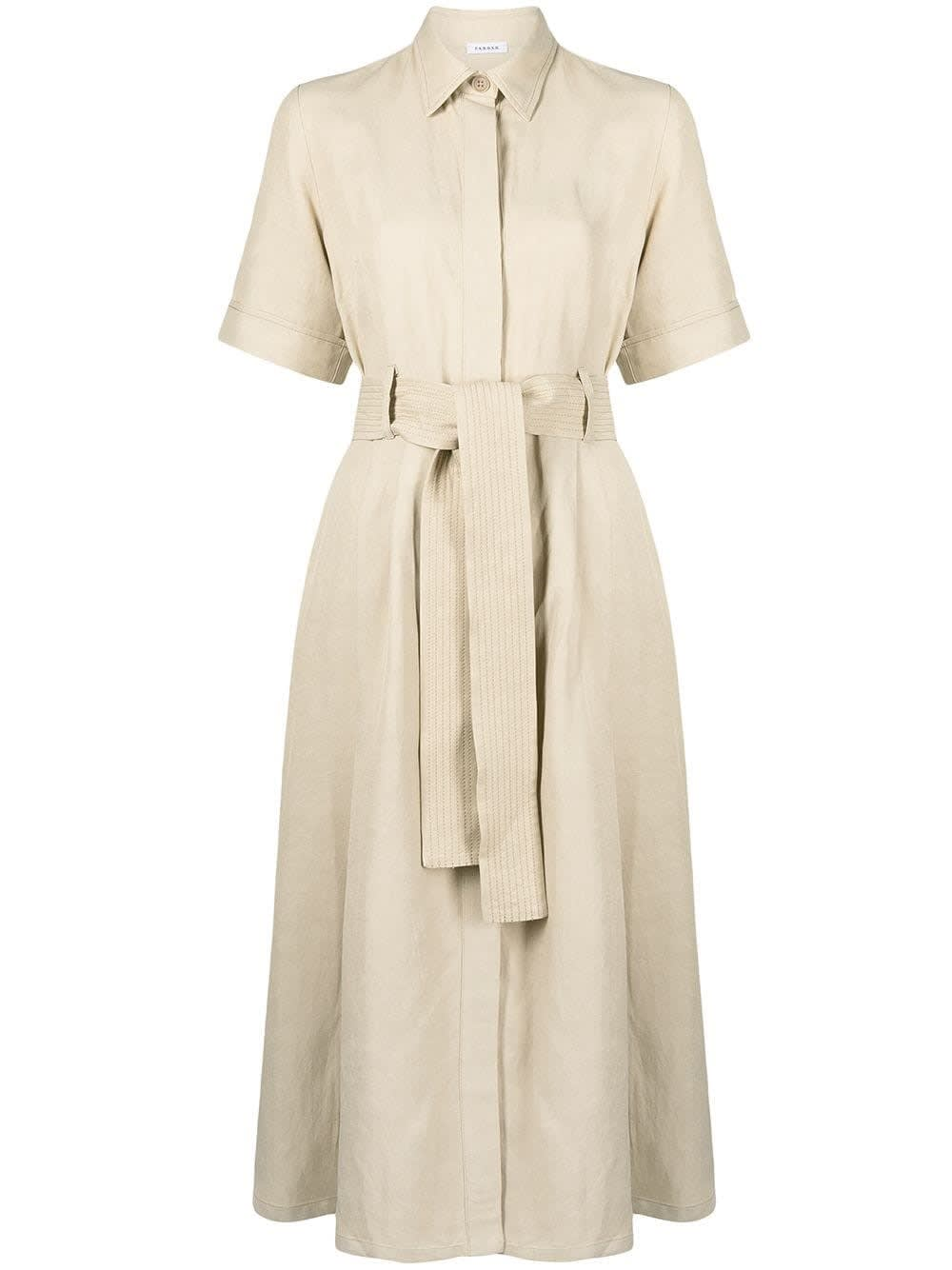 P.a.r.o.s.h. RAISA BEIGE CHEMISIER DRESS IN VISCOSE BLEND