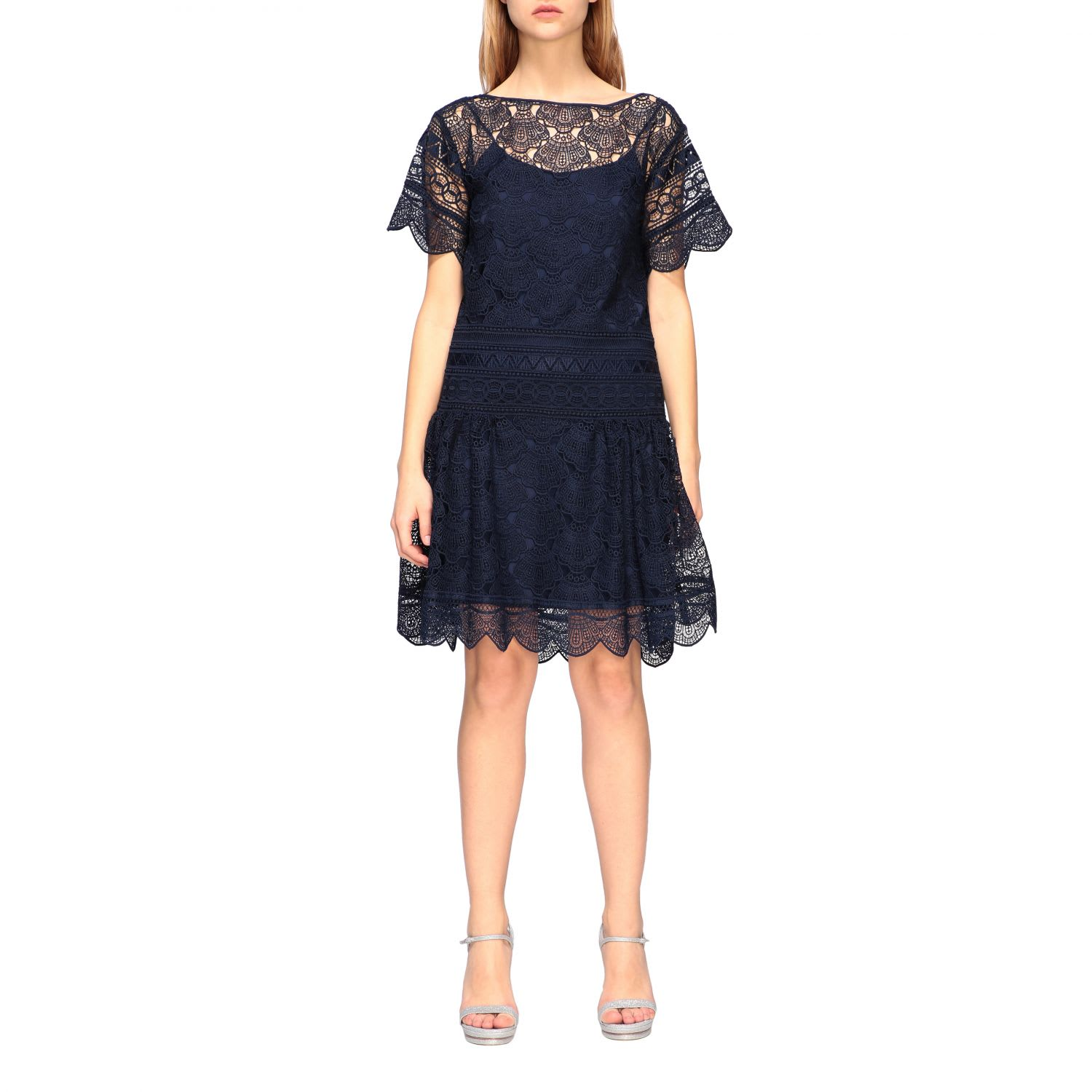 Buy Alberta Ferretti Dress Alberta Ferretti Short Macramé Dress online, shop Alberta Ferretti with free shipping