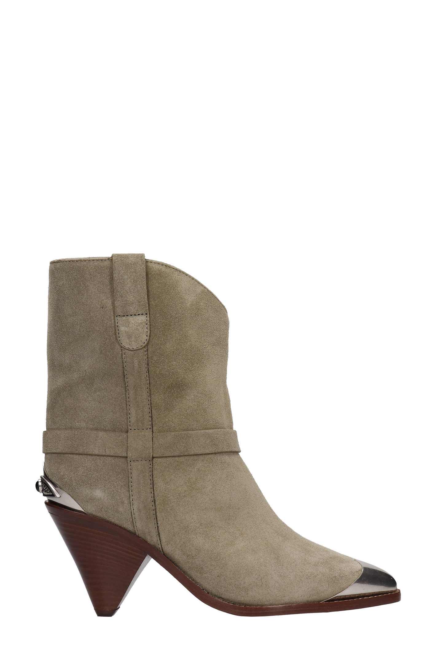 Buy Isabel Marant Limza Texan Ankle Boots In Taupe Suede online, shop Isabel Marant shoes with free shipping