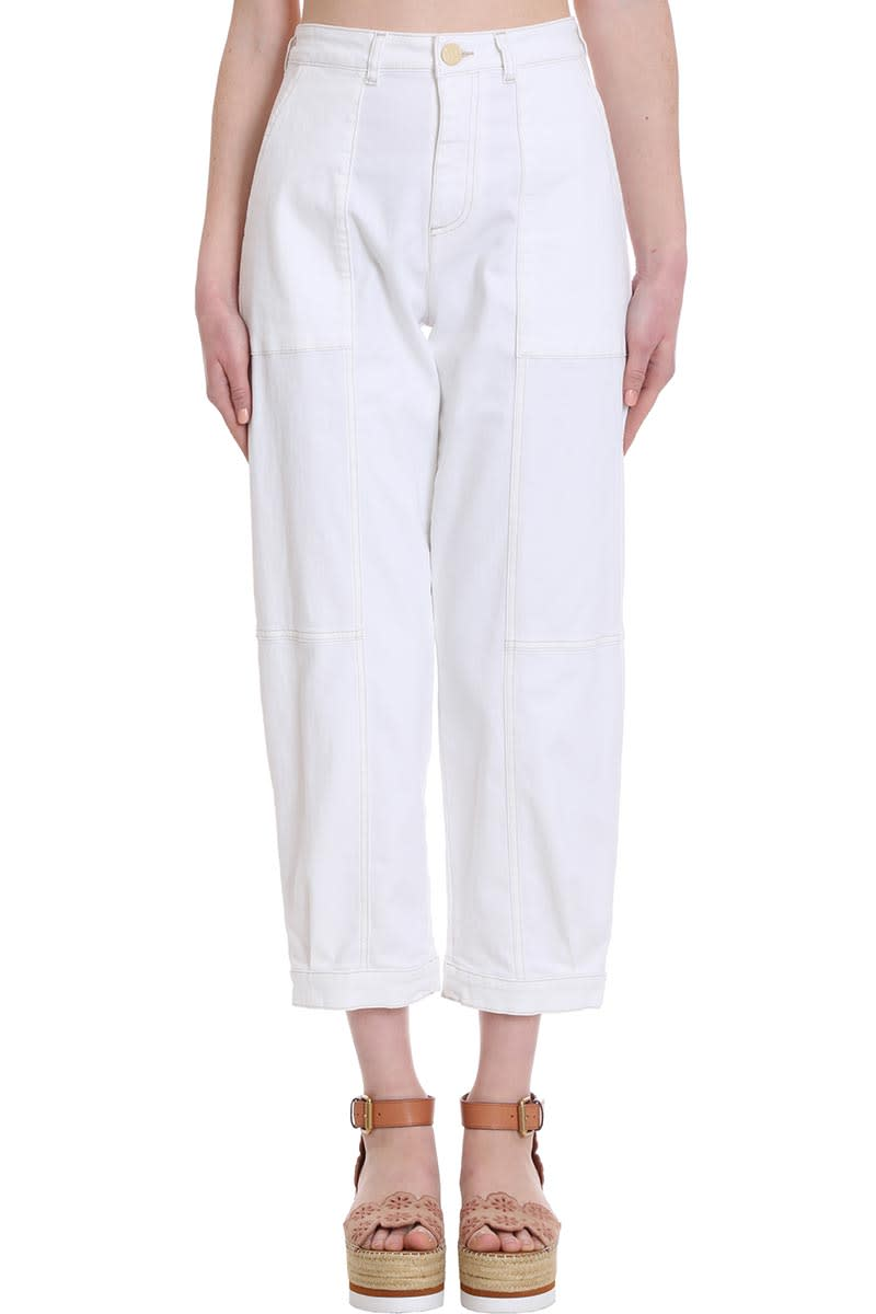 SEE BY CHLOÉ JEANS IN WHITE DENIM