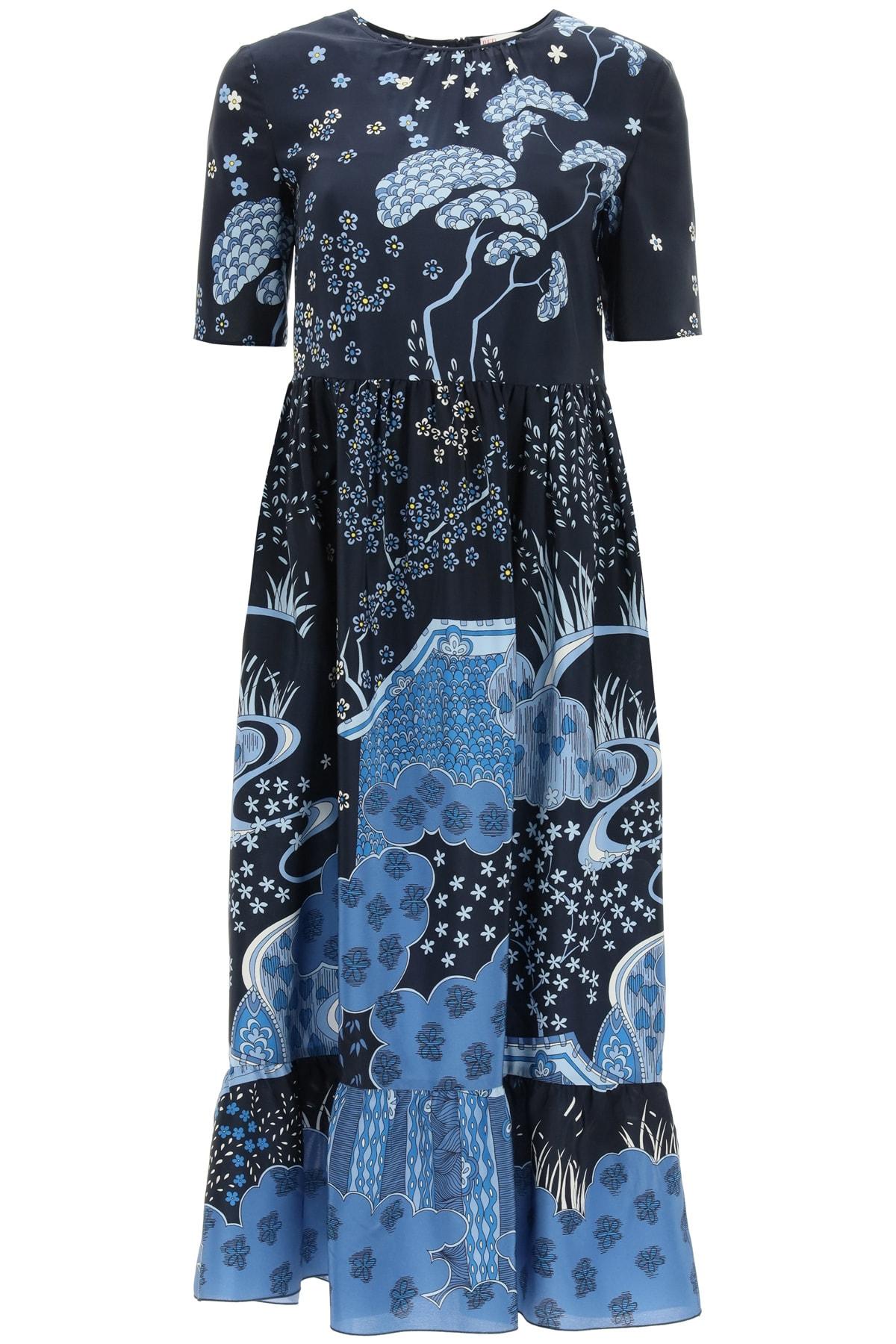Buy Oriental Toile De Jouy Print Midi Dress Valentino online, shop Valentino with free shipping