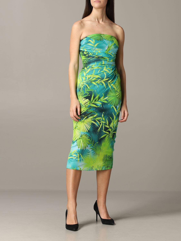Buy Versace Dress Versace Décolleté Dress With Jungle Print online, shop Versace with free shipping