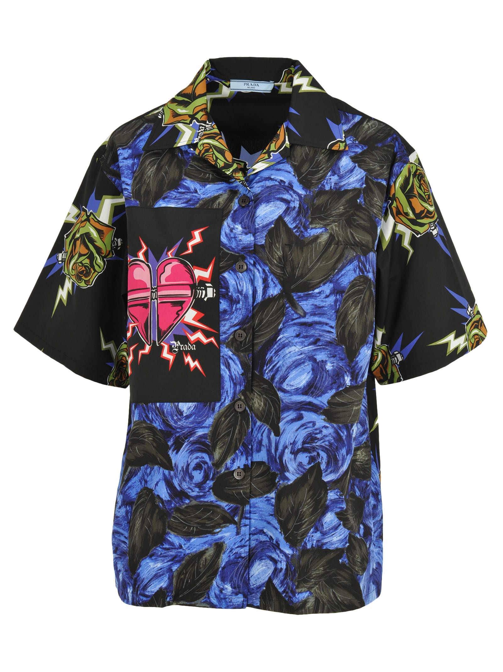 6d85bc6eac Prada Printed Poplin Shirt