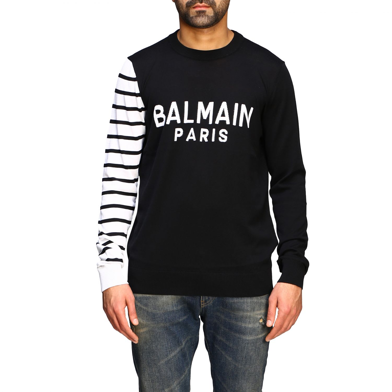Balmain Sweater Balmain Crew Neck Sweater With Logo And Striped Sleeve