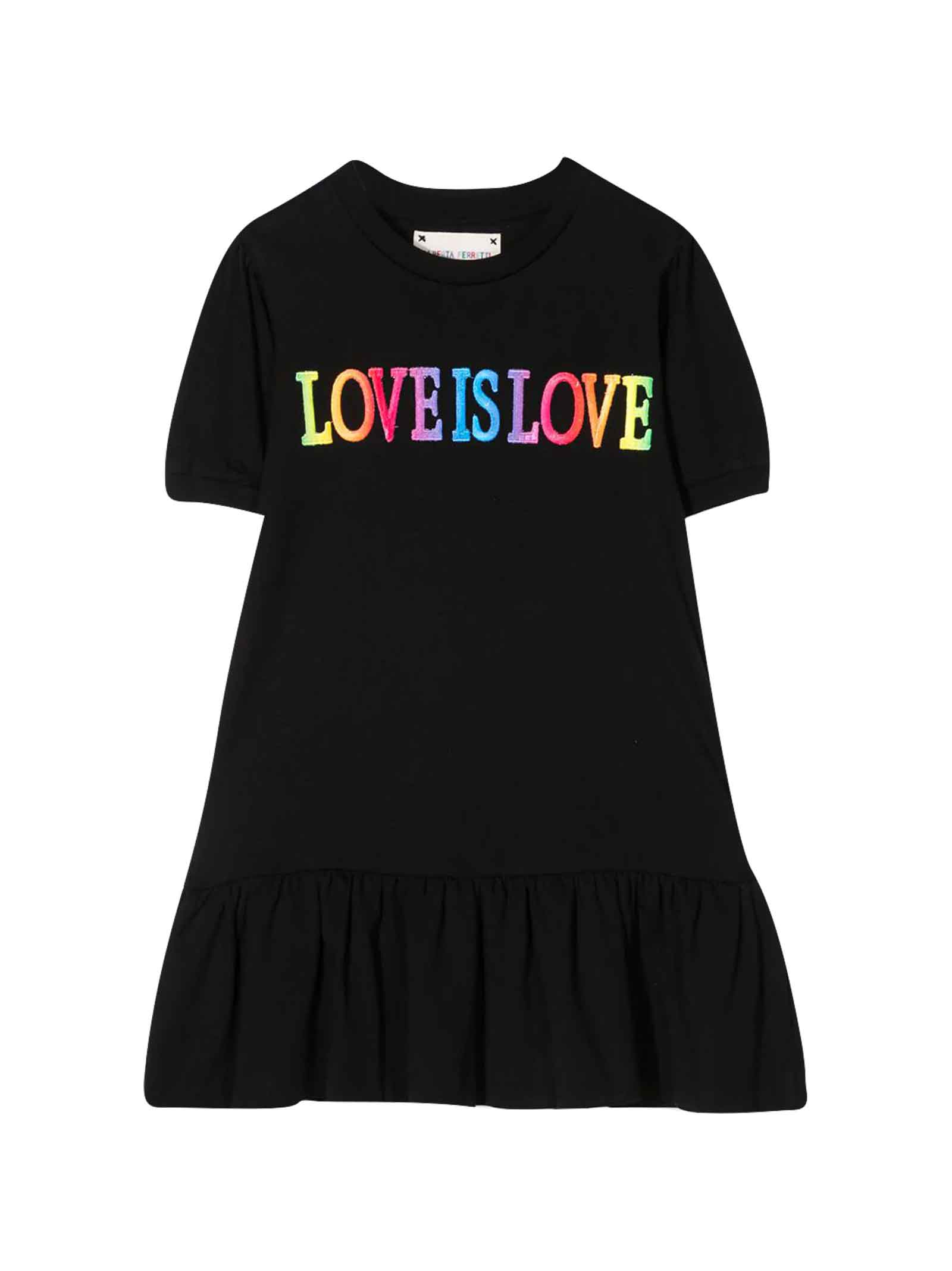 Buy Alberta Ferretti Black Teen Dress With Multicolor Press online, shop Alberta Ferretti with free shipping